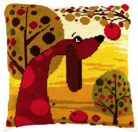 Dachshund or Flowers or Fish pillowcase cross-stitch DIY embroidery kit craft set