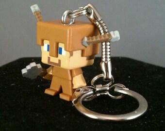 Minecraft Keychains / Steve with Arrows / mini figure keychains / Minecraft zipper pull / Minecraft Key Chain / Minecraft party