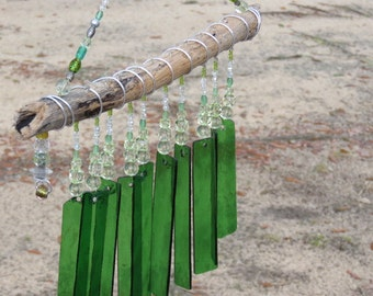 Stained Glass Windchime; driftwood windchimes; chimes; glass wind chimes