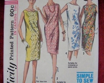 51% OFF 1965 Simplicity Sewing Pattern 5980 Misses' One Piece Dress Size 10 Bust 31