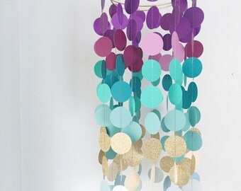 NEW / baby mobile / purple teal gold ombre mobile / modern nursery mobile / purple gold turqupise mobile / baby girl mobile