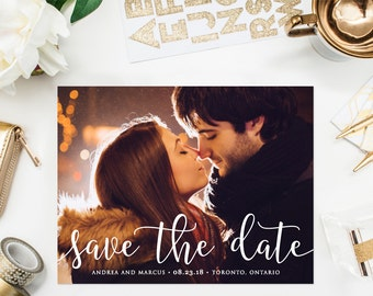 PRINTABLE Save the Date Postcard - Timeless Calligraphy Script Save the Date Postcard - Elegant Photo Save the Date