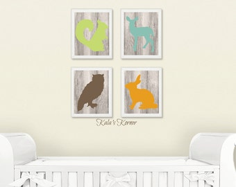 WOODLAND NURSERY ART -  Forest Nursery art -  Forest Animals nursery - Woodland Animals Nursery - 4 Piece Print Set Unframed