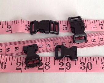 "Small Black Plastic Bracelet Clasp Buckle for Hemp or Paracord Survival Bracelets 1-1/2"" x 5/8"""