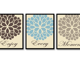 Blue Brown Beige Tan Flower Print Set of 3 Enjoy Every Moment Art Print Wall Decor Bathroom Bedroom Modern Minimalist