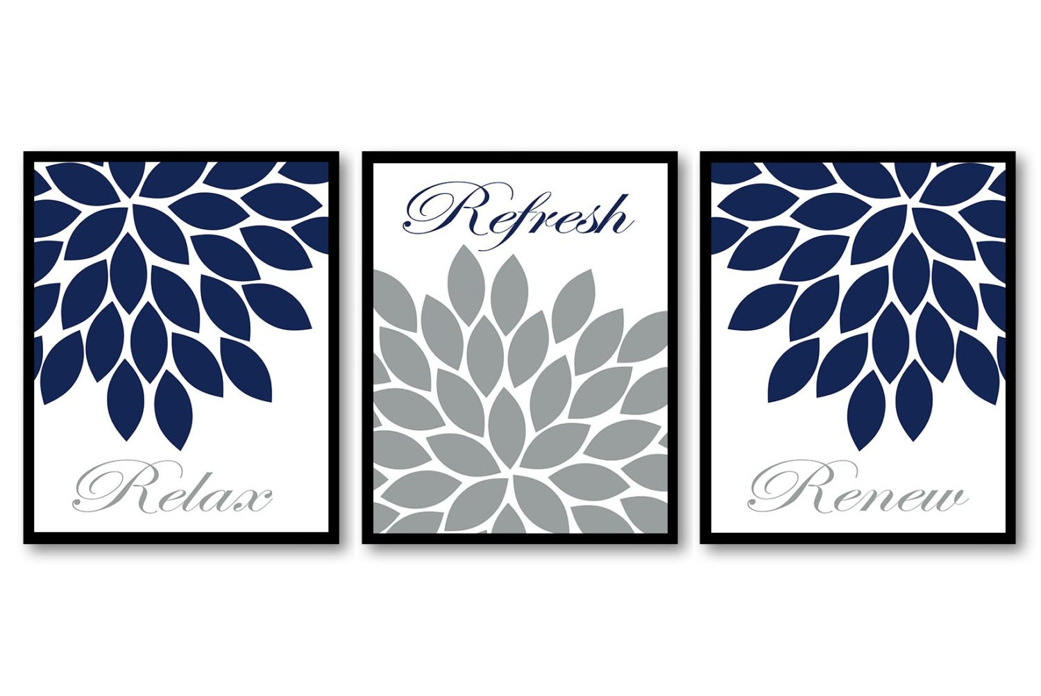 Bathroom wall decor navy blue white grey chrysanthemum flower for Blue and gray bathroom accessories