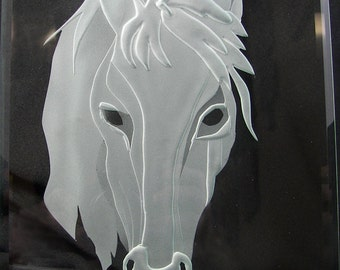 Unique One of a Kind Gift Deep Sandcarved Glass Horse