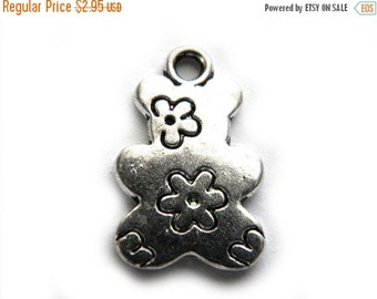 SALE 6 Silver Flower Bear Charms