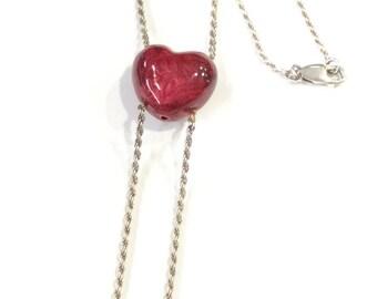 Silver red enamel heart necklace