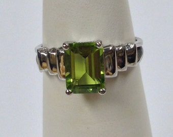 Genuine Peridot Ring Sterling Silver