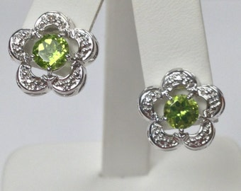 Natural Peridot with Natural Diamond Earrings 925 Sterling Silver