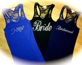 set of 5 bridesmaid shirts . Bridesmaid half lace tank tops . Wedding party shirts. Bridesmaid bling shirts. black, aqua, coral, white