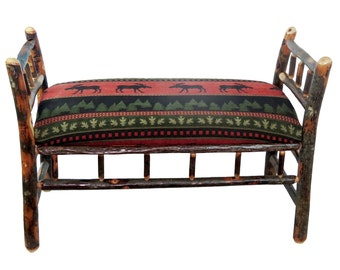 Rustic Hickory Upholstered Sleigh Bench - Red Moose Fabric
