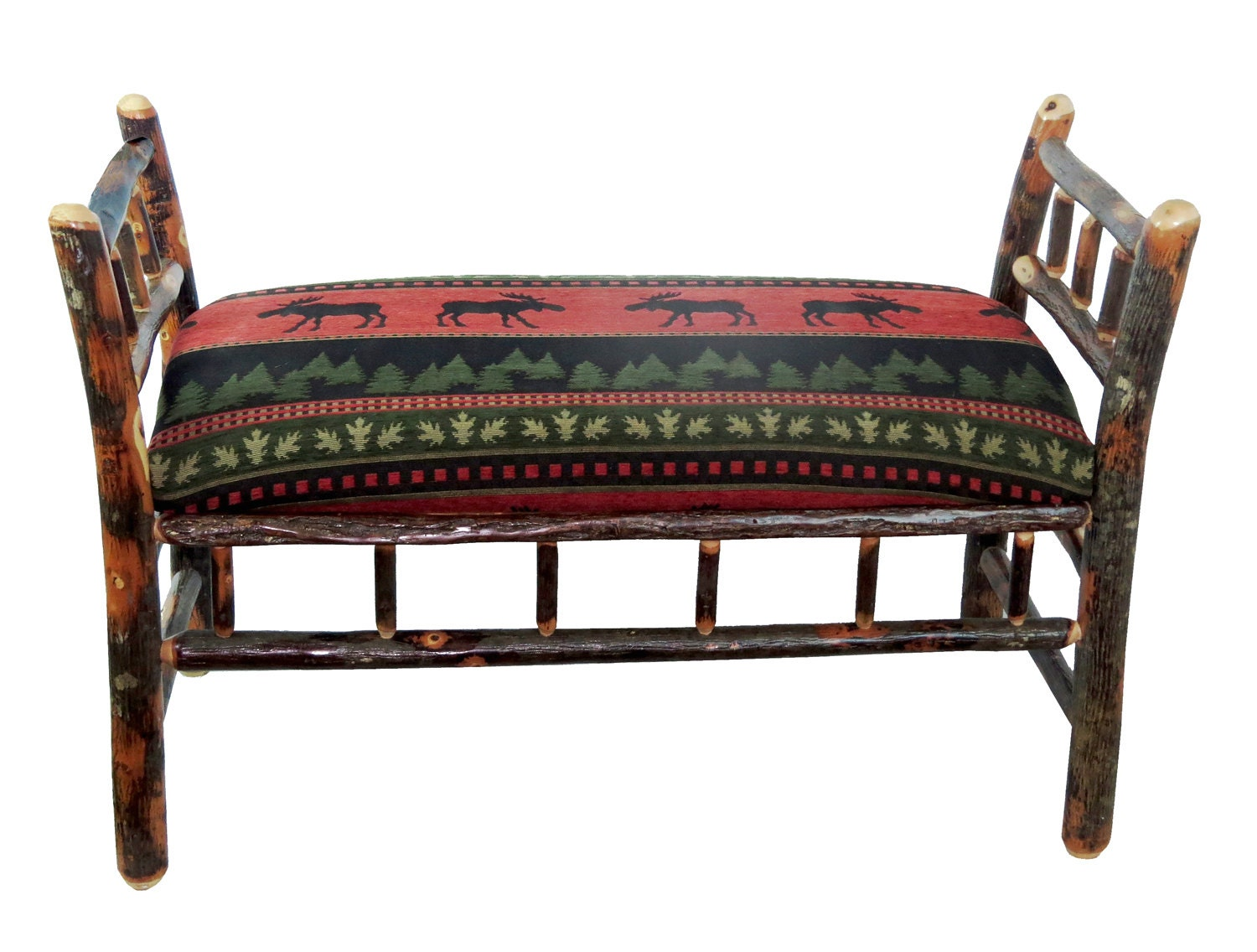 Rustic Hickory Sleigh Bench Upholstered With Red Moose Fabric