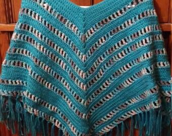 Handmade shall poncho with fringe
