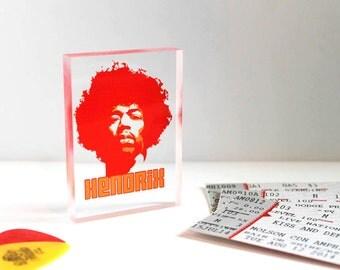 Jimi Hendrix Clear Printed Rock Music Acrylic Block