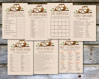 Owl Baby Shower Games Package - Baby Shower Games, Owl Shower Games, Woodland Animal Baby Shower Games, Owl Games - Printable, DIY