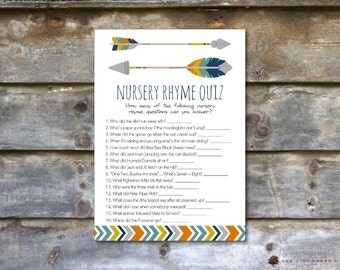 Tribal Nursery Rhyme Quiz Baby Shower Game - Tribal Nursery Rhyme Baby Shower Game, Printable Baby Shower Games, Tribal, Printable, DIY
