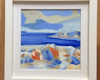 beach rocks 2013 oil on wood 11x11in framed 17x17in