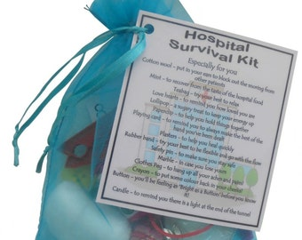 Hospital Survival Kit Gift - Small novelty good luck / get well soon gift - Free UK Shipping