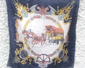 Vintage Silk Equestrian Square Scarf Navy Vintage Scarf Classic Horse & Carriage Motif Vintage Preppy Scarf Reins Chains Horses Pure Silk