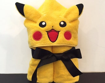 Pokemon Pikachu Inspired Hooded Towel.  Bath towel Beach towel Cover up Pool Towel Personalized towel, Play costume