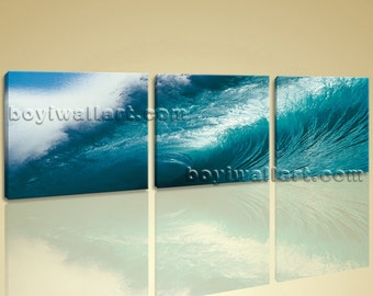 Large Modern Abstract Wall Art Print On Canvas Seascape Sea Wave Home Decor, Large Sea Wave Wall Art, Bedroom, Allports