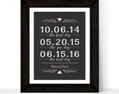 First anniversary gift for couple husband, Important date art, paper anniversary gift for him her, wedding sign, our love story sign canvas