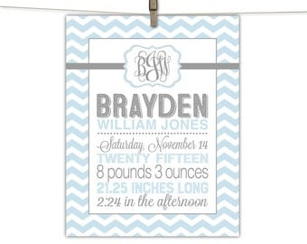 Newborn baby boy gift unique | chevron birth stats wall art | nursery keepsake baby announcement art | blue and gray nursery