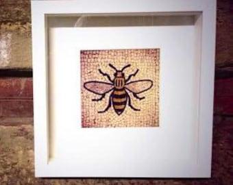 Colour photograph of The Manchester Bee / detail / mosaic / fine art print / wall art / Home decor