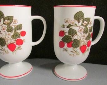 Vintage Pedestal Mug with Strawberries  BOX 18