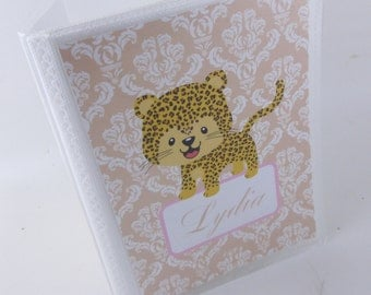 Girl Photo Album, Cheetah leopard damask, baby shower gift, 4x6 or 5x7 photo album- personalized grandmas brag book- 480