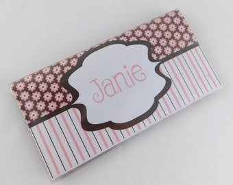 Personalized Checkbook cover pink brown flower 630