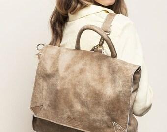 """BEIGE Leather Backpack, School Backpack, Rucksack, 17"""" Laptop Backpack, Messenger bag, FREE SHIPPING!"""