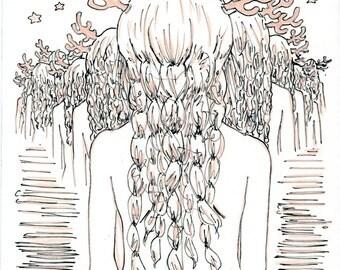 An Ocean of Myself pastel print