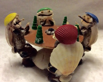 Vintage poker card players made from seashells. Phillipines 1960s. Free ship