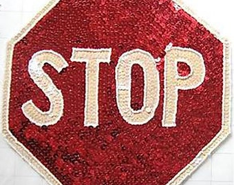 "Choice: Stop Sign Appliqué, 8"" Sequins AND Beads-JJ828-B368, 6"" ALL Sequins-JJ0300-B372"