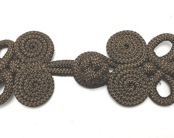 "Frog Closure, Chocolate Brown Soft Cloth Rope, 4"" x 2"" Each Side, 0856"