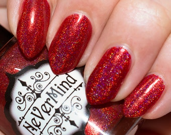 Red Linear Holo Nail Polish - Holographic Nail Lacquer - Full Size 15ml bottle - Christmas / gifts for her / Hadephilia