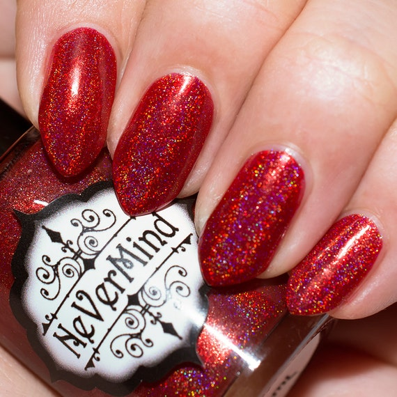 Red Linear Holo Nail Polish