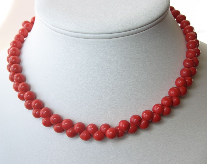 Rare Art Deco 1930's Necklace Czech Red Coral Beads