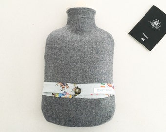 Vintage Wool Hot Water Bottle Cover | Around the world in 80 days.