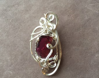 Natural Garnet Slice Sterling Silver Sculpted Wire Wrapped Pendant