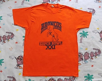 Vintage 80's Denver Broncos Super Bowl XXI T shirt, size M/L by Screen Stars 1987 NFL