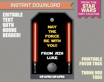 Star Wars Party Favor Tags / Star Wars Thank you Tag - Star Wars Birthday - Star Wars Party - Edit and print at home with Adobe Reader