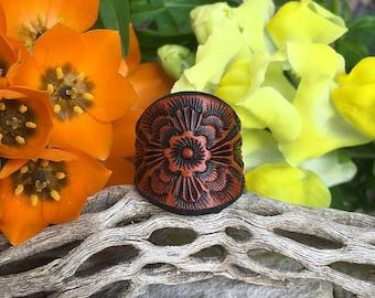 Leather Ring ~ Oli's Rose