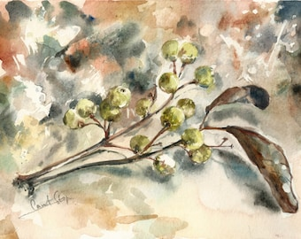 Painting of branch, ORIGINAL Watercolor Painting, Autumn Still Life, Earth Colors, Nature Painting, Watercolour Art