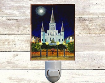 """Night Light, """"Cathedral"""", New Orleans Icons,  Handmade, Copper Foiled"""