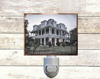 "Night Light, ""Dansereau House"", Thibodaux, Louisiana, Handmade, Copper Foiled"