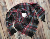 Monogrammed Tartan Plaid Blanket Scarf - Personalized or plain - black, gray, red, green, cream, light blue